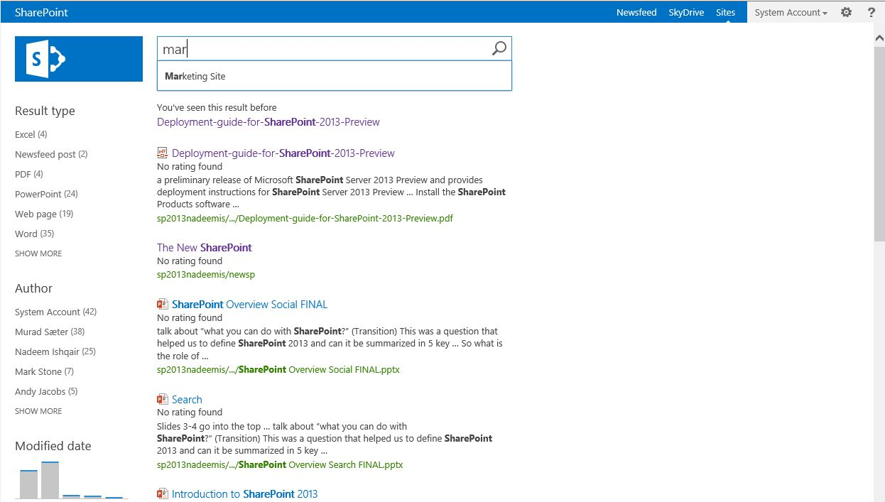 Screenshot Microsoft SharePoint Search